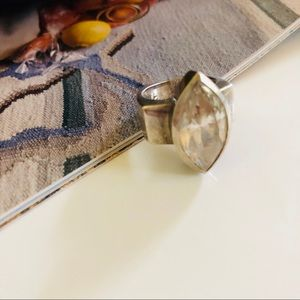 Vintage Jewelry - HB Sterling Silver Rectangle Crystal Stone Ring